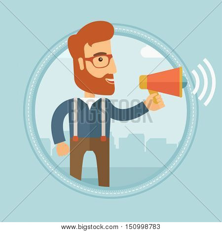 A hipster businessman with beard making a public announcement on the city street. Young businessman announcing through megaphone. Vector flat design illustration in the circle isolated on background.