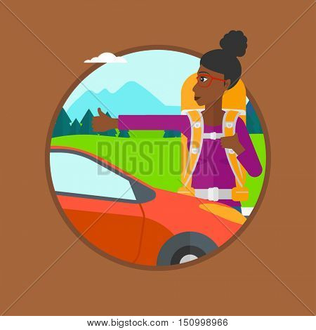 An african-american young woman with backpack hitchhiking on roadside. Hitchhiking woman trying to stop a car on the road. Vector flat design illustration in the circle isolated on background.
