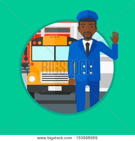 An african-american school bus driver in uniform waving. Young male school bus driver standing in front of yellow bus. Vector flat design illustration in the circle isolated on background.