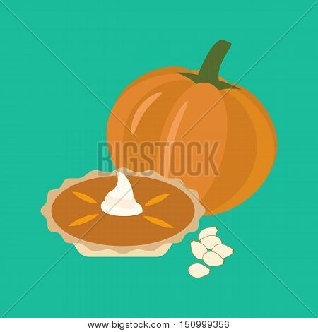 Pumpkin pie illustration on the green background. Vector illustration