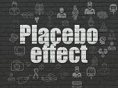 Medicine concept: Painted white text Placebo Effect on Black Brick wall background with Scheme Of Hand Drawn Medicine Icons poster