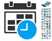 Date and Time pictograph with bonus calendar and time management icon set. Vector illustration style is flat iconic bicolor symbols, blue and gray colors, white background. poster