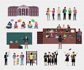 Set of Student Education. Students in audience, student in library, lecture, reading, learning process, doing homework, graduate student in graduation cap and gown, College education background poster