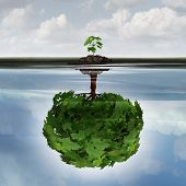 Potential success concept as a symbol for aspiration philosophy idea and determined growth motivation icon as a small young sappling making a reflection of a mature large tree in the water with 3D illustration elements. poster