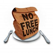 No Free Lunch business concept as a financial entitlement benefit symbol for not getting something for nothing as a bag with text with 3D illustration elements on a white background. poster