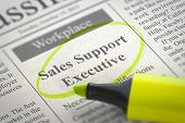 Sales Support Executive - Job Vacancy in Newspaper, Circled with a Yellow Marker. Blurred Image with Selective focus. Job Seeking Concept. 3D Rendering. poster
