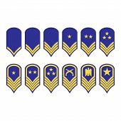 Vector illustration epaulets military ranks and insignia isolated on white background. poster