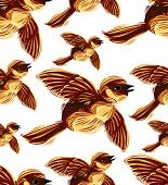 Birds migration seamless pattern. Sparrow flock graphic drawing. poster