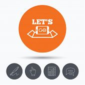 Smartphone icon. Let's Go symbol on map. Pokemon game concept. Speech bubbles. Pen, hand click and chart. Orange circle button with icon. Vector poster