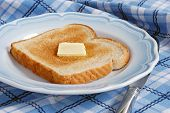 Freshly toasted, light wheat bread with a pat of melting butter on blue and white vintage plate.  Bl