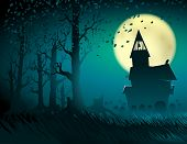 Halloween scene with the moon and the old castle; Abandoned hut in the old forest with a cemetery and gravestones; Gloomy terrible otherworldly place; Vector background Eps10 poster