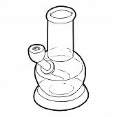 Bong for smoking icon in outline style on a white background vector illustration poster