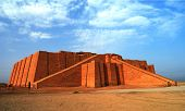 Restored ziggurat in ancient Ur sumerian temple in Iraq poster