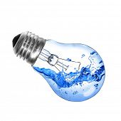 Energy concept. Light bulb with water and splash isolated on white poster
