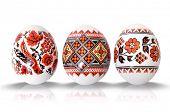 easter eggs on white