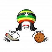 Rasta death offers cookies and joint or spliff. Rastafarian dreadlocks skull and beret. Grim Reaper for Rastafarians. Jamaican demon holding biscuit and marijuana and smoking drugs. ganja skeleton poster