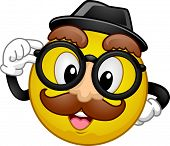 Mascot Illustration of a Happy Smiley in Disguise Wearing a Fedora Hat, a Pair of Glasses, and a Fake Moustache poster