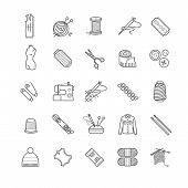 Outline web icons - needlework, sewing, knitting for your design poster