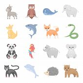 Animal icons set. Big collection of different wild animal. Predator and herbivorous, sea and ground animal symbol. Set of exotic animal in wild world cartoon style - stock vector poster