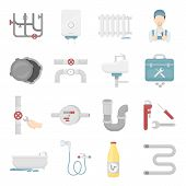 Plumbing icons collection. Set of cartoon vector plumbing and plumber tools icons. Pipe, boiler, radiator and another plumbing symbol. Unique sanitary engineering and plumbing icons in flat cartoon style. poster