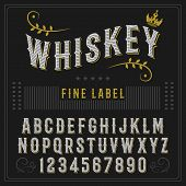 Whiskey label font and sample label design Vintage font. Whiskey font. Fine label font. Handcrafted font. poster