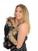 Beautiful girl with small cute york terrier dog. isolated on white background poster