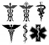 Medical Symbols-Graphic is an illustration of six medical symbols. Optometry, dentistry, veterinary, Caduceus, Rod of Asclepius, and the Star of Life. poster