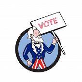 Illustration of Uncle Sam wearing american stars and stripes suit looking to the side holding placard with the word VOTE viewed from front set inside circle on isolated background done in cartoon style. poster