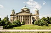 Frontage of beautiful basilica in Esztergom Hungary. Cultural heritage. Travel destination. Largest building. Religious architecture. Place of worship. poster