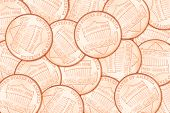 Heap of one US cent penny coins. Can be use as background poster
