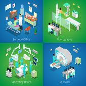 Isometric Hospital Interior. Medical MRI Scan, Operating Room with Doctors, Fluorography Process, Surgeon Office. Vector 3d flat illustration poster
