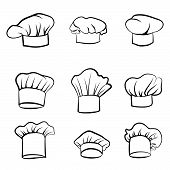 Cook hat. Drawn hat chef cook. Hat chef-cooker. Vector black hat chef cook on a white background poster