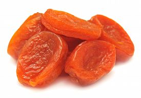 Dried apricots isolated on white background. Dry.