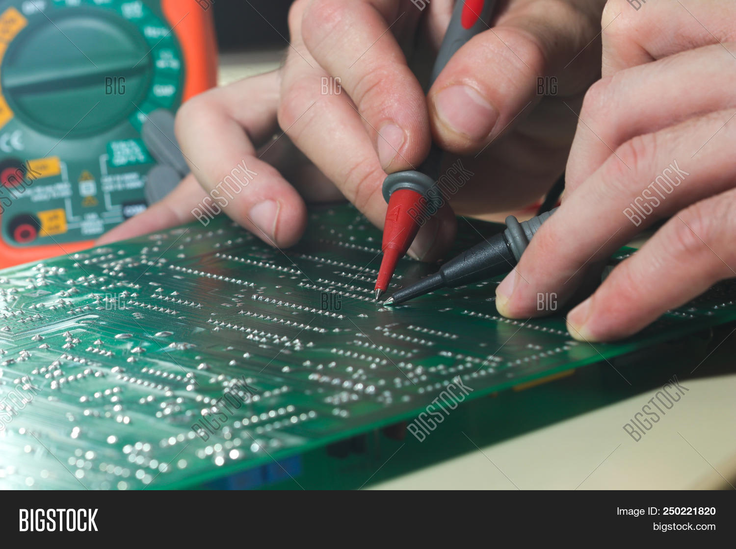 Engineer Testing Image Photo Free Trial Bigstock Cutting Circuit Board Is With Instrument