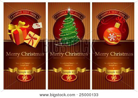 Three classical christmas banners