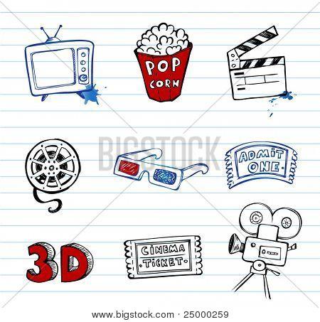 Cinema symbols vector set, hand-drawn icons