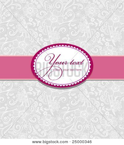 Template frame design for greeting card , seamless pattern on background