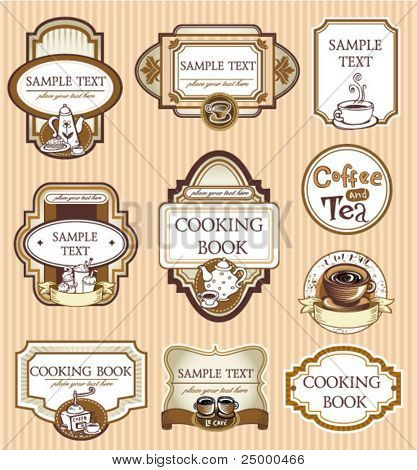 Set of coffee doodled illustrations in sepia color style