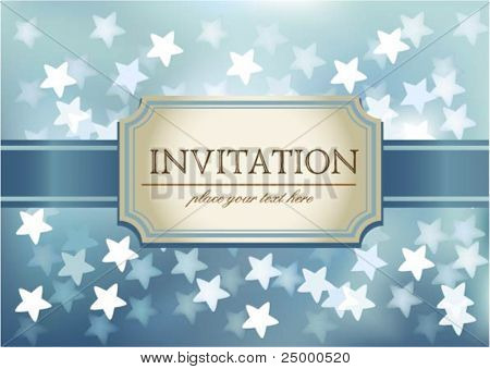 Vector invitation on blue glittering background in hearts