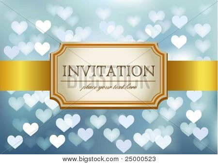 Vector Amazing Wedding invitation on blue glittering background in hearts