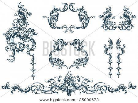 Elementi decorativi di vettore, stile rococò