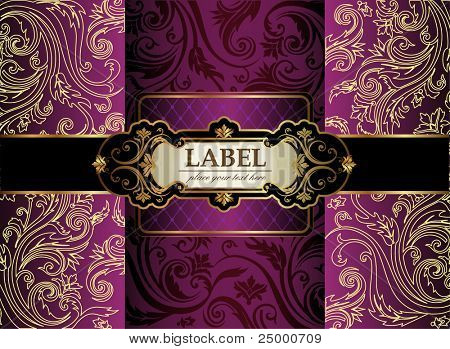 Vintage gold & purple luxury decorative ornate background