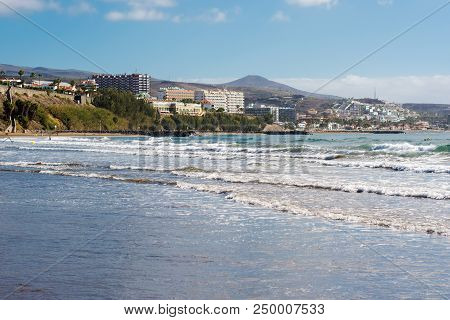 Beach And The Sea In Playa Del Ingles, Gran Canaria, Canary Islands, View Of The Sea, Hotels, Beach,