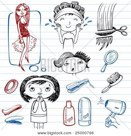 Female beauty, beauty salon, doodle set