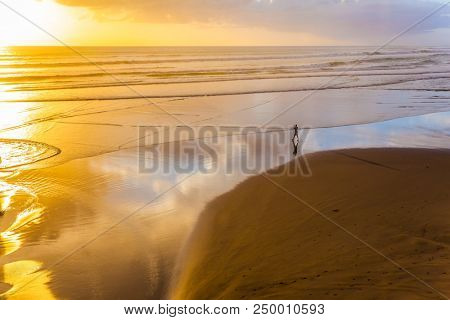 Concept of active and ecological tourism. Phenomenal sunset on the beach near Auckland. Coast of the North Island of New Zealand