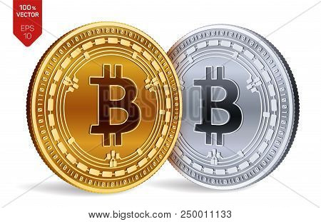 Bitcoin Cash. Crypto Currency. 3d Isometric Physical Coins. Digital Currency. Golden And Silver Coin