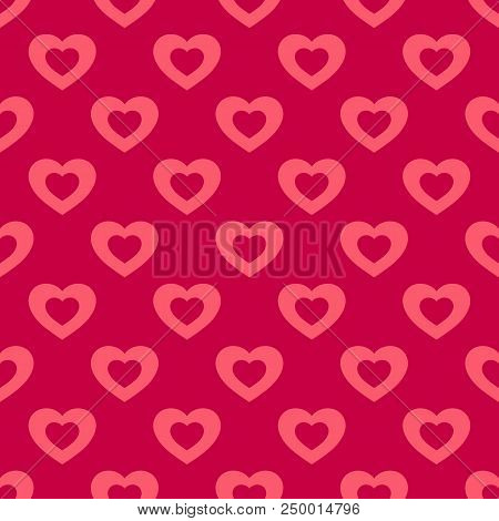 Valentines Day Background. Vector Seamless Pattern With Hearts On Red Backdrop. Abstract Geometric T