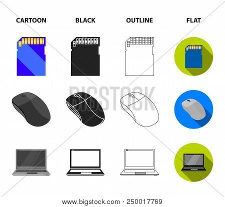 Computer Mouse, Laptop And Other Equipment. Personal Computervset Collection Icons In Cartoon, Black