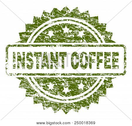 Instant Coffee Stamp Seal Watermark With Rubber Print Style. Green Vector Rubber Print Of Instant Co