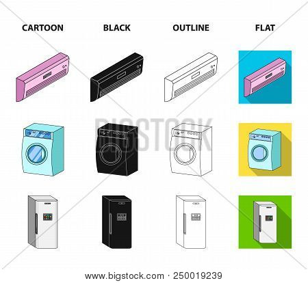 Home Appliances And Equipment Cartoon, Black, Outline, Flat Icons In Set Collection For Design.moder